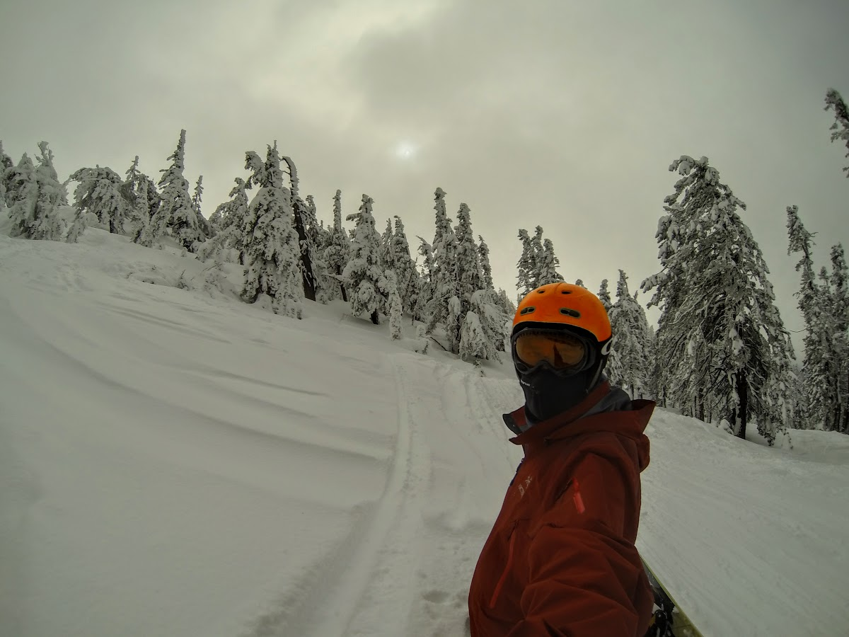 Bruno snowboarding in the fresh powder of Solitude Canyon