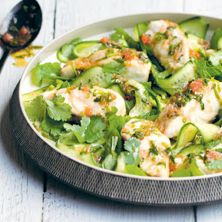 Baked Snapper with Fish Sauce Dressing, Cucumber and Mint Salad