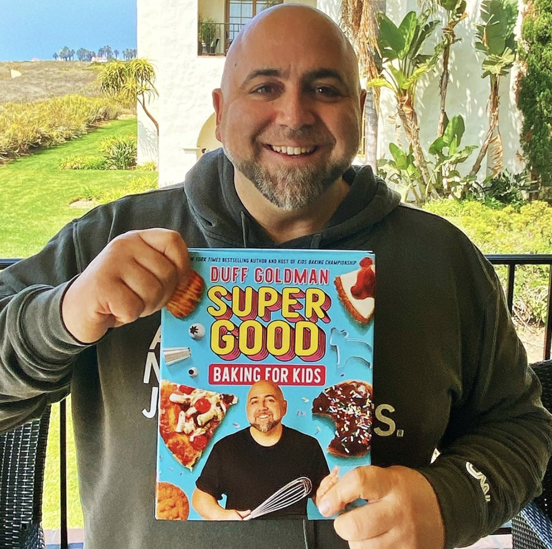 Duff Goldman promoting his cooking book Super Good Baking for Kids