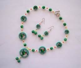 "Photo: PCC- 117 Polymer Clay hummy bird cane necklace and earring set. The other beads are: Swarovski Crystal and glass beads. The beads size: 11/4"",1"", 3/4"" and 1/2"" The necklace is 20"" long. Earrings are 2.5"" long. $199.00."