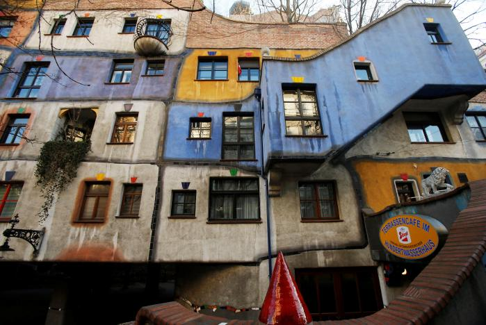 The Hundertwasser House landmark with the 'Terrassencafe im Hundertwasserhaus' in Vienna, Austria. Picture: REUTERS
