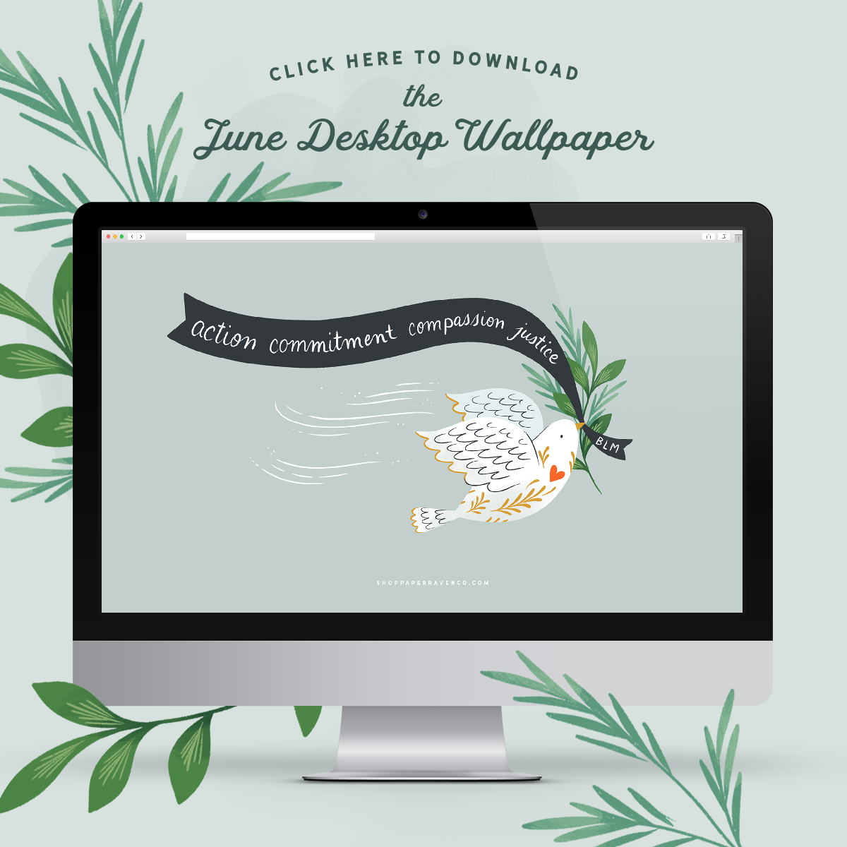 June 2020 Illustrated Desktop Wallpaper by Paper Raven Co. | ShopPaperRavenCo.com #desktopdownload #desktopwallpaper #dressyourtech