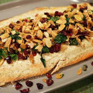 Baked Salmon with Cranberry Almond Salad.
