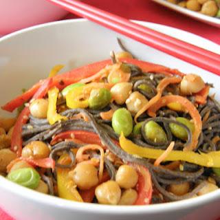 Black Bean Noodle and vegetable Stir Fry.