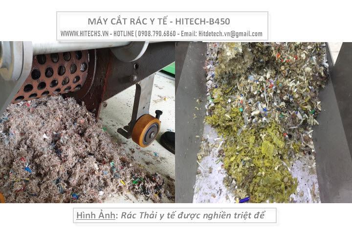rác sau cắt rất nhỏ, Máy nghiền rác y tế Hitech-B450 do Việt nam sản xuất.