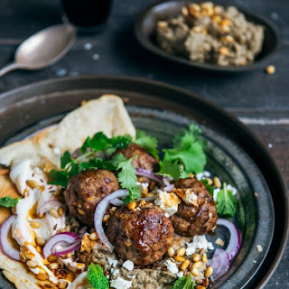 Loaded Lamb Meatballs with Eggplant Hummus