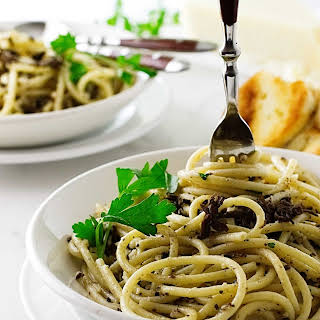 Pasta Strands with Black Truffle Sauce.