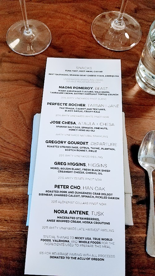 Chefs Week PDX 2017 Heritage Dinner at Chesa on May 7th, place setting