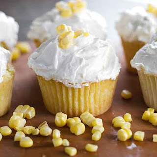 Fresh Corn Cupcakes with Brown Butter Honey Frosting