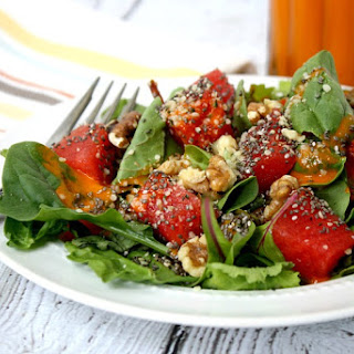 Watermelon Salad with Clean Eating Watermelon Vinaigrette (Raw, Vegan, Gluten-Free, Dairy-Free, Paleo-Friendly).