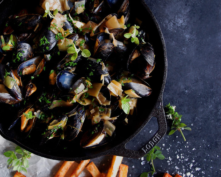 Moules Frites with Black Garlic Broth Recipe