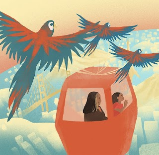 An illustration of a woman and a child in an orange gondola, soaring over a pastel yellow and blue cityscape. Another gondola is in front of them, with the silhouette of a person inside. Parrots fly above the gondola, evoking a sense of adventure and wonder.