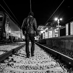 Walk the line by Miguel  Galvão - Novices Only Portraits & People ( exposure, évora, station, miguel, railroad, alentejo, train, line, night, long, portugal, galvão )