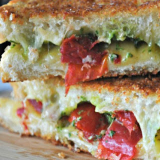 Grilled Cheese with Spicy Havarti, Cilantro Pesto & Roast Tomatoes Recipe