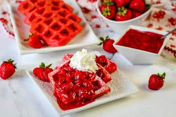 Red Sweetheart Waffles With Strawberry Sauce