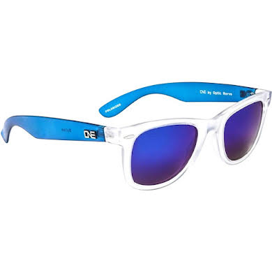Optic Nerve ONE Dylan Polarized Sunglasses: Crystal Clear/Blue with Polarized Smoke Blue Mirror Lens