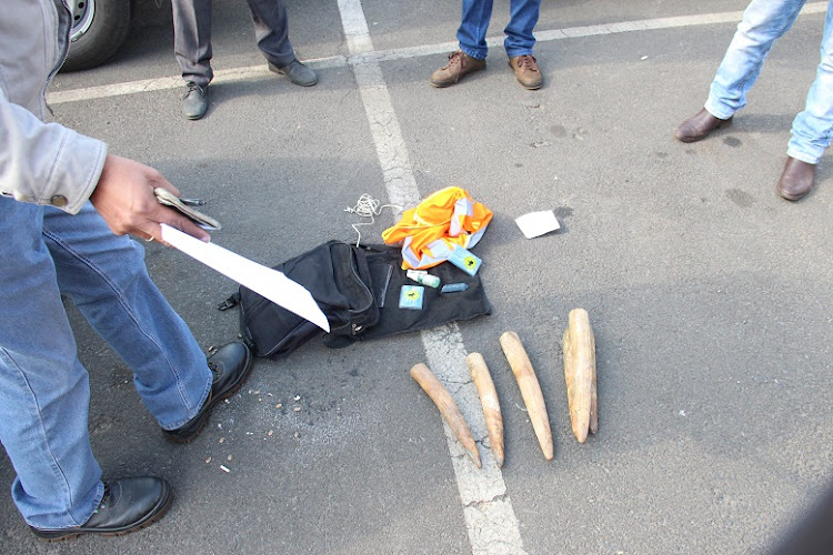 Two suspects were arrested at Festival Mall in Kempton Park for possession of elephant tusks.