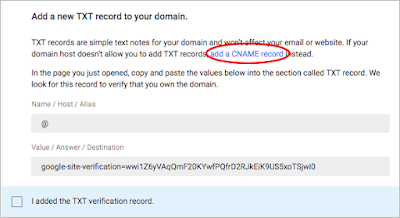 A red circle highlights the add a CNAME record link on the Add a new TXT record to your domain page.