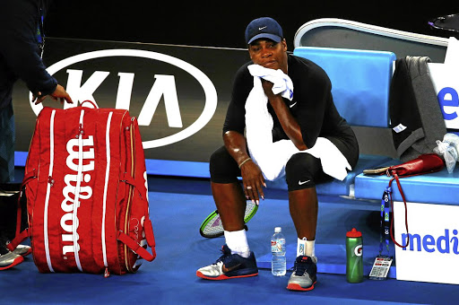 Serena Williams wraps up a training session on January 13 2017, ahead of the Australian Open tennis tournament in Melbourne. Picture: REUTERS