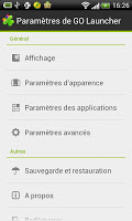 screenshot of GO LauncherEX French language