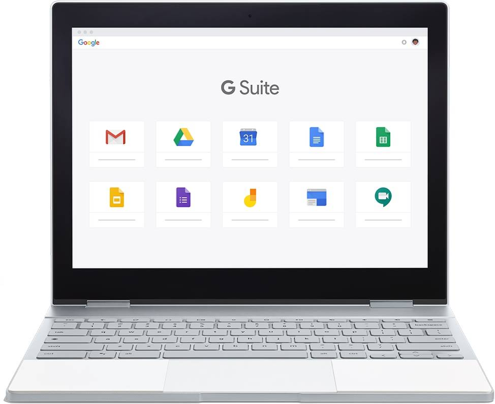 A Chromebook showing the top ten G Suite products: Gmail, Drive, Calendar, Docs, Sheets, Keep, Forms, Jamboard, Sites, and Google Meet.