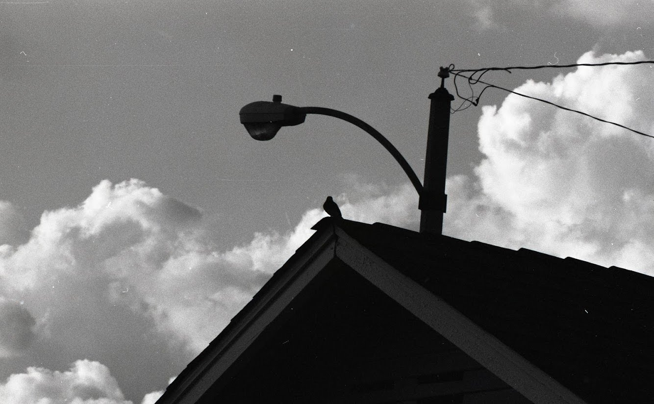 Lamp post above roof