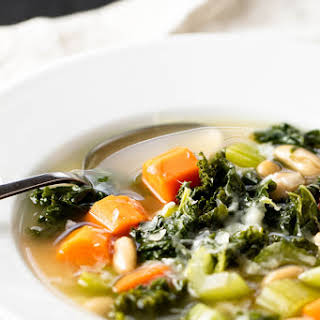 Hearty Veggie Soup with White Beans and Kale.