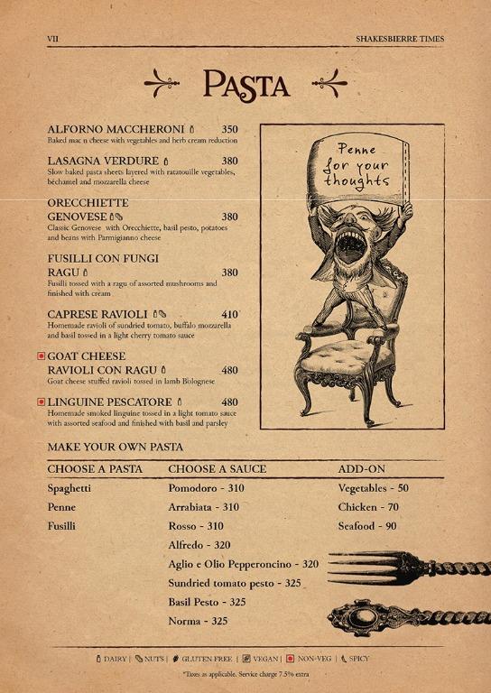 Shakesbierre menu