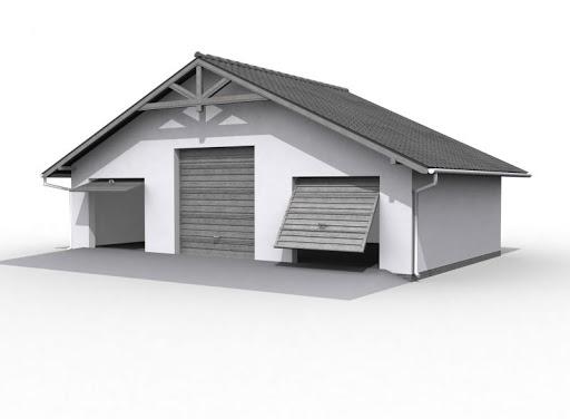 projekt G7 szkielet drewniany, garaż trzystanowiskowy