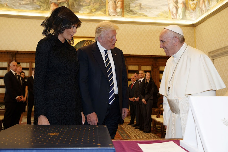 US President Donald Trump and first lady Melania meet Pope Francis during a private audience at the Vatican. Picture: REUTERS/