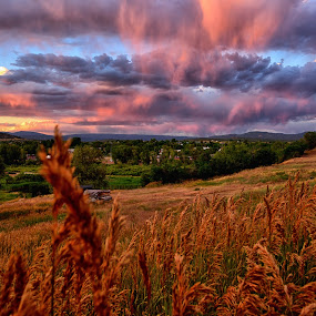 Cloudy Sunset over the town by Antonio Lobato - Landscapes Cloud Formations ( field, cloud formations, clouds, colorful, sunset, sundown, cloudscape, landscapes, landscape,  )