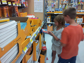 Photo: Even though this was Mister Man's project, Little Miss couldn't help wanting to get involved. She kept wanting to put items in the cart. And it's possible that we kept having to pull them out because they weren't on *his* list ;)