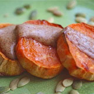 Sweet Potato Rounds with Sweet Almond Sauce.