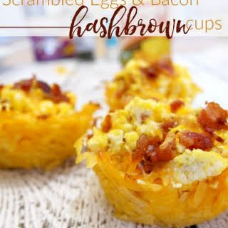 Scrambled Eggs and Bacon Hashbrown Cups.