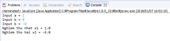 Java - Giải phương trình bậc 2