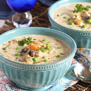 Creamy Chicken Soup with Artichokes and Mushrooms.
