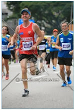 Photo: Congratulations to Freddo (wearing his Swannies top) and Alana for completing the Standard Chartered (Half?) Marathon in Singapore this morning! (1 December 2013.)