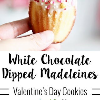 White Chocolate Dipped Madeleine Cookies.