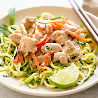 Quick Green Curry Chicken with Zucchini Noodles.