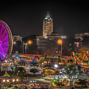Summer Canival by Nathaniel Jorge - City,  Street & Park  Amusement Parks ( sony, lights, trashmore, carnival, pwc79, summer, long exposure, circle, landscape, va beach )
