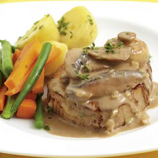 Steak with Creamy Mushroom Sauce.
