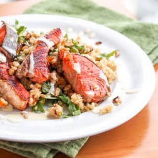 Salmon over Quinoa Salad with Arugula, Almonds and Apricots {Gluten-Free, Dairy-Free}.