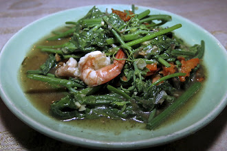 Photo: stir-fried chayote greens with shrimp and oyster sauce