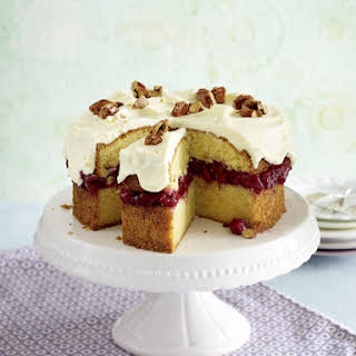 Almond and Cherry Cake with Cream Cheese Frosting.