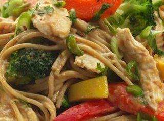 Peanut Noodles With Shredded Chicken & Vegetables Recipe