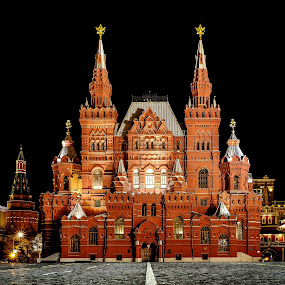 Historical museum Moscow by Romano Alberto Basso - Buildings & Architecture Public & Historical ( building, russia, red, moscow, night, square, museum, historical )