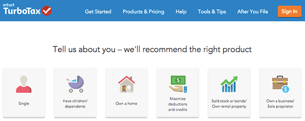 A screenshot of Turbo Tax's front page, where they ask users to give information about themselves to recommend a product. An example fo a guided flow.
