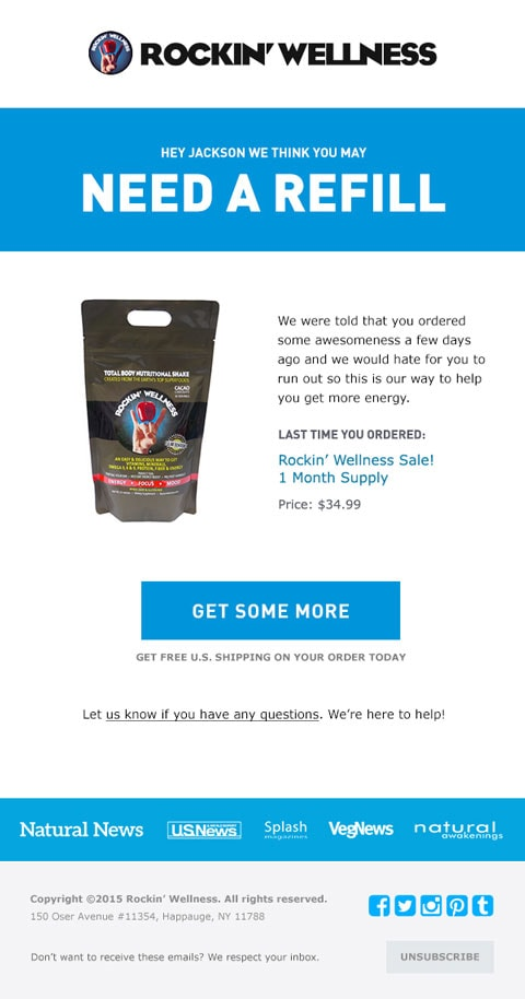replenishment email