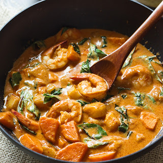 Thai Red Curry with Shrimp and Mango.
