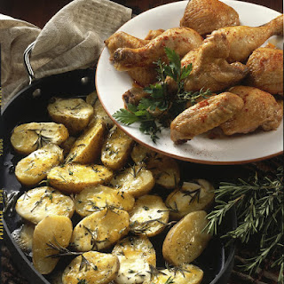 Roast Chicken with Baked Potatoes.